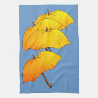 Floating yellow umbrella towel