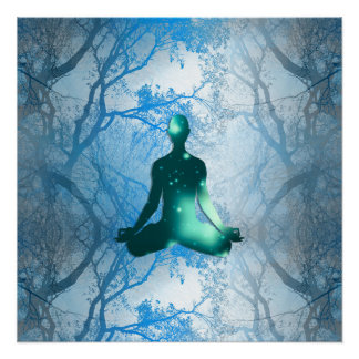 Floating yogi in the Trees (blue) Perfect Poster