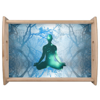 Floating yogi in the Trees (blue) Serving Tray
