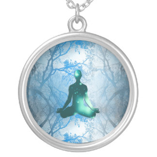 Floating Yogi in the Trees (blue) Silver Plated Necklace