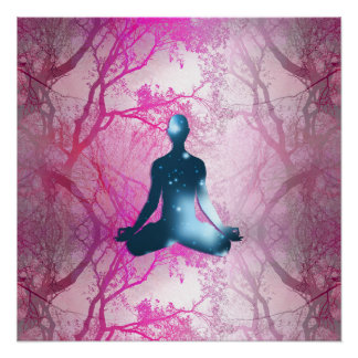 Floating yogi in the Trees (magenta) Perfect Poster