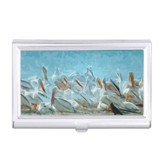 Flock of American White Pelicans and Friend Business Card Case