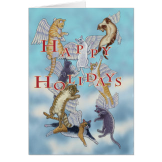 Flock of Angel Cats Happy Holidays Christmas Card