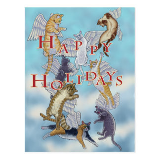 Flock of Angel Cats Happy Holidays Postcard