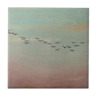 Flock of birds in distant sky tile