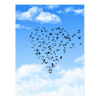 Flock of Birds Love Heart Postcard