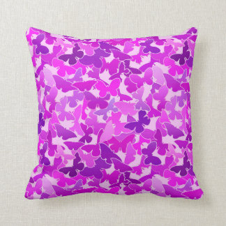Flock of Butterflies, Amethyst, Violet and Orchid Throw Pillow
