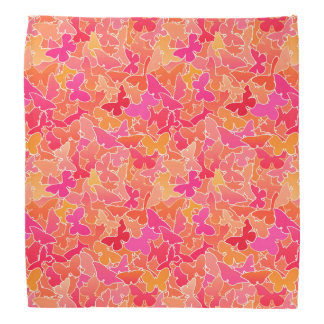 Flock of Butterflies, Fuchsia Pink & Coral Orange Bandana