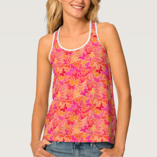 Flock of Butterflies, Fuchsia Pink & Coral Orange Tank Top
