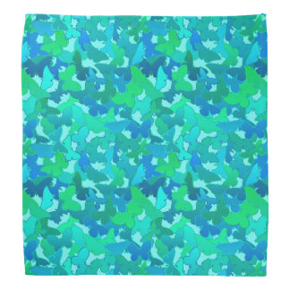 Flock of Butterflies,Turquoise, Aqua and Sky Blue Bandana