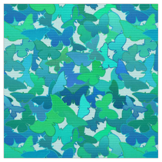 Flock of Butterflies,Turquoise, Aqua and Sky Blue Fabric