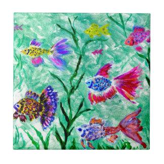 Flock of Fish Art Tile