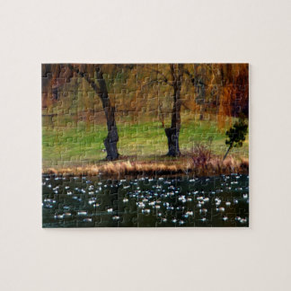 Flock of Geese Weeping Willows Jigsaw Puzzle