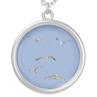 Flock of High-Flying Seagulls Silver Plated Necklace