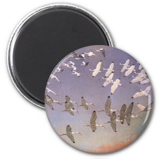 Flock of Ibis Flying Over Wetlands, Vintage Birds Magnet