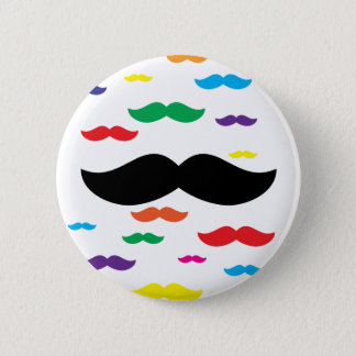 flock of mustache RAINBOW 2 Inch Round Button
