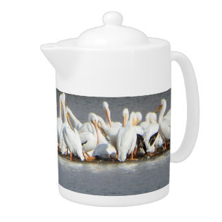 Flock of Pelicans Tea Pot