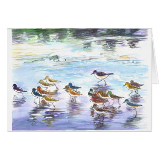 Flock of sandlings on the beach card