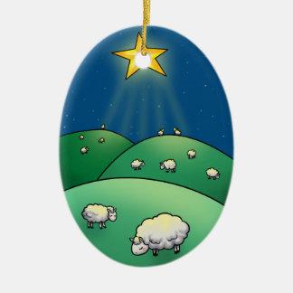Flock of Sheep under Christmas Star Ceramic Oval Ornament