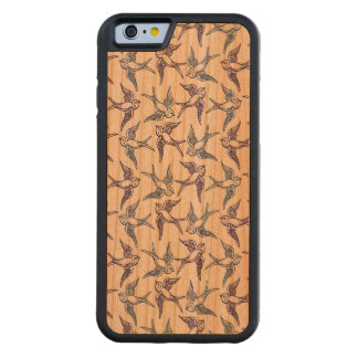 Flock of Sketched Birds Carved Cherry iPhone 6 Bumper Case