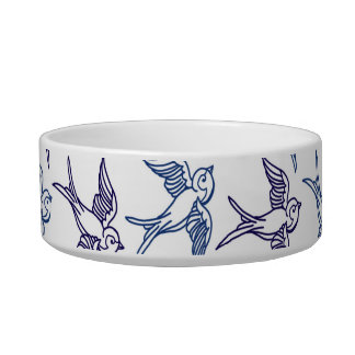 Flock of Sketched Birds Cat Bowl