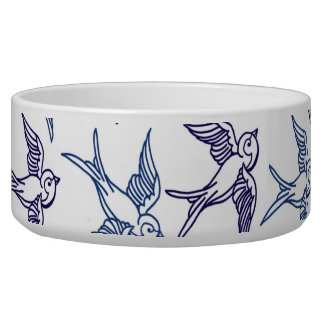 Flock of Sketched Birds Dog Food Bowl
