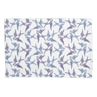 Flock of Sketched Birds Pillowcase