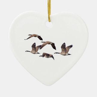 Flock of wild geese ceramic heart ornament