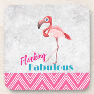 Flocking Fabulous Pun w/ Pink Flamingo Coaster