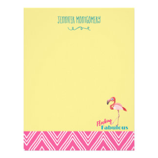 Flocking Fabulous Pun w/ Pink Flamingo Letterhead