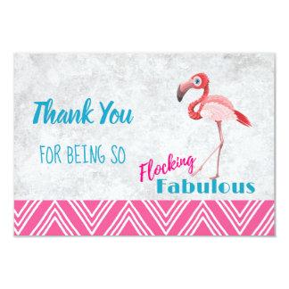 Flocking Fabulous Pun w/ Pink Flamingo Thank You Card