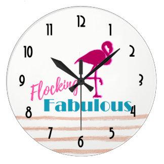 Flocking Fabulous Typography w/ Pink Flamingo Large Clock