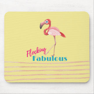 Flocking Fabulous Typography w/ Pink Flamingo Mouse Pad