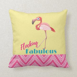 Flocking Fabulous Typography w/ Pink Flamingo Throw Pillow