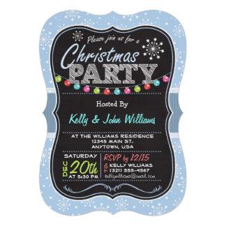 Flocon de neige bleu-clair, fête de Noël de regard Invitations Personnalisées