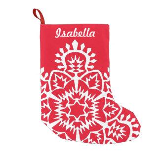 Flocon de neige nommé de nouvelle année petite chaussette de noël