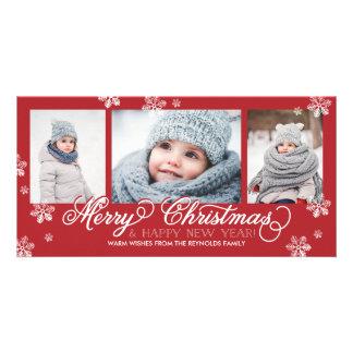 Flocons de neige de Joyeux Noël et de bonne année Photocartes Personnalisées