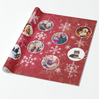 Flocons de neige de Noël 10 photos de famille Papier Cadeau Noël