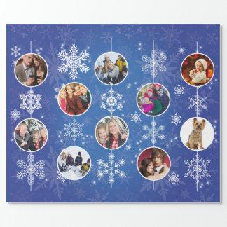 Flocons de neige de Noël 10 photos de famille Papiers Cadeaux