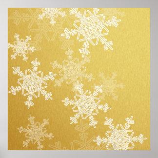 Flocons de neige Girly de Noël d'or et blanc Poster