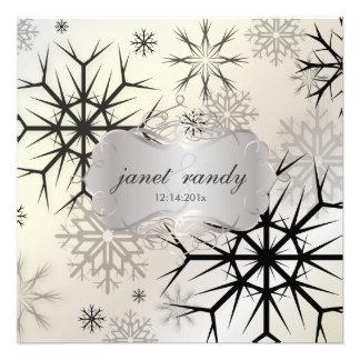Flocons de neige noir invitations de mariage d h