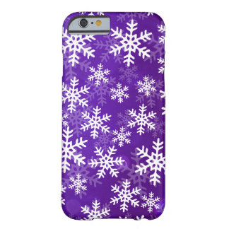 Flocons de neige pourpres et blancs coque barely there iPhone 6