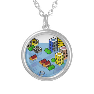 Flooded City Silver Plated Necklace