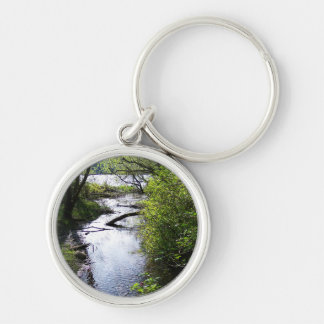 Flooded Trail Silver-Colored Round Keychain