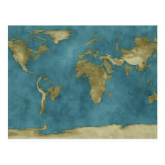 Flooded World Map Postcard