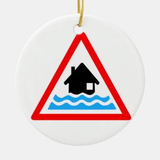Flooding Warning Round Ceramic Ornament