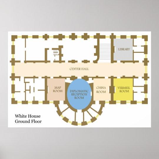 Floor plan of The White House Ground Floor Diagram Poster