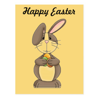Floppy Ear Bunny Holding Three Colored Eggs Postcard