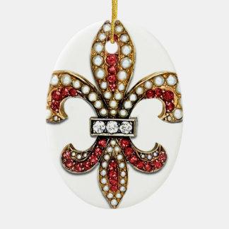 Flor De Lis Fleur De Lis Jewel new orleans Ceramic Ornament