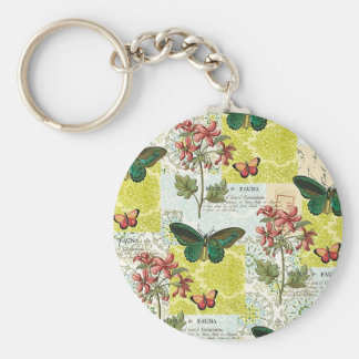 Flora and Fauna Basic Round Button Keychain